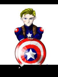 An anime illustration of the MCU Captain America.
