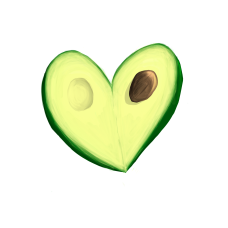 The avocado heart which iI'd venture to say is the main attraction of the apron.